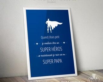 Decorative poster Super hero Super dad