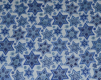 HANUKKAH FABRIC! By The Half Yard For Quilting / Star of David / Blues