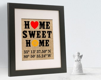 Custom Western Theme Home Sweet Home Burlap Print Custom LAT. LONG Included  | Housewarming Gift |