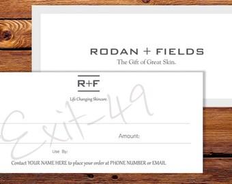 Rodan + Fields Gift Certificate HARD COPIES Cards