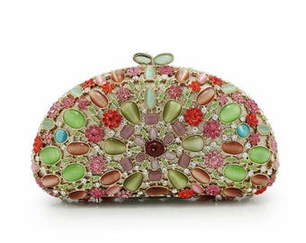 Red n green crystal evening bag, Clutch Bag for party, wedding, dinner or prom, Wedding brides clutch bag, Indian clutch bag