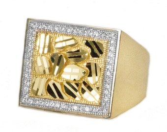 10k Large Yellow Gold Nugget Ring, Cubic Zirconia Gold Nugget Ring