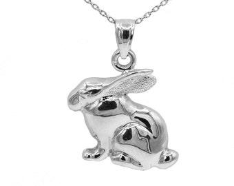 14k White Gold Rabbit Necklace