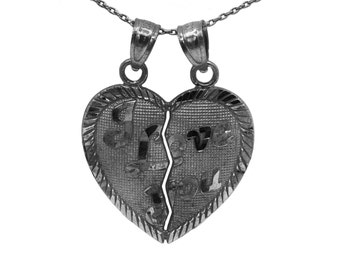 10k Black Gold I Love You Heart Necklace