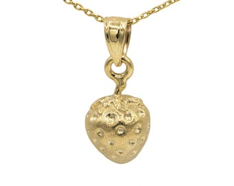 14k Yellow Gold Strawberry Necklace