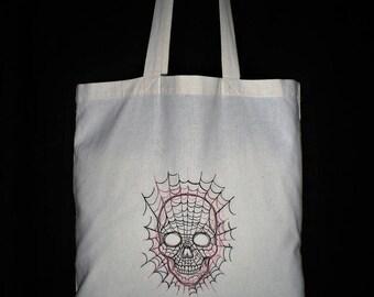Jute bag shopping bag skull skull embroidered.