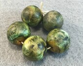 Moss Colored  Round Polymer Clay Bead Set