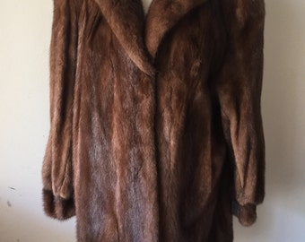 Mink fur coat , women's size medium .