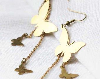 Brass butterflies wire earring / Linen Jewelry / Everyday Earring