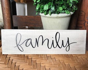 """Wooden """"family"""" Hand Lettered Plaque, rustic decor"""