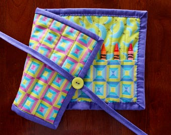 Geometric Crayon Roll, Green Crayon Roll, Purple Crayon Tote, Blue Crayon Holder, Patterned Crayon Holder,  Blue Green Aqua, Preschool