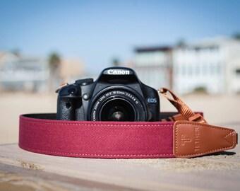Camera Strap - Burgundy for DSLR or SLR camera, DSLR Camera Strap. Camera accessories. Canon camera strap. Nikon camera strap.