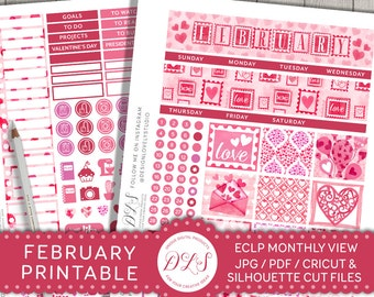 February Monthly Kit, February Planner Stickers, Printable Planner Stickers, February Stickers for Erin Condren, Valentines Planner,  MV118