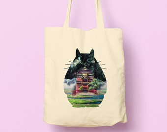 My Neighbor Totoro, and Studio Ghibli Scenes Silhouette design Natural Tote Bag girlfriend gift idea, birthday present, anime fan gift