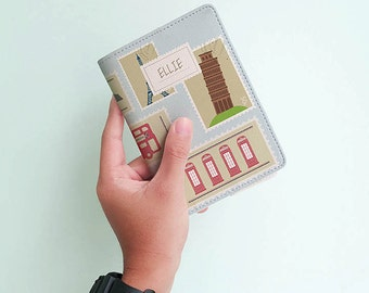 Retro Stamps Around The World - Personalized Passport Cover/Holder - Travel Passport Cover - High Quality Handmade Leather | TG-PPC-427