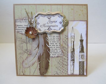 """Greeting Card, Party Card, Birthday Card, Ristic Card, Vintage Card """"Feathers"""""""
