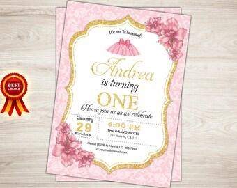 Ballerina Invitation Pink Gold Ballerina Birthday Invitation Tutu cute First Birthday Invitation Ballet Birthday Party Invite Dance Recital