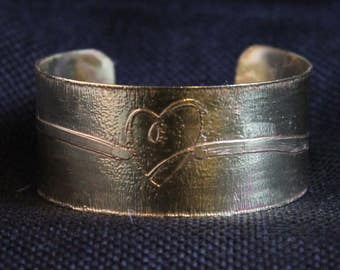 Etched Brass Heart Cuff Bracelet (031217-004)