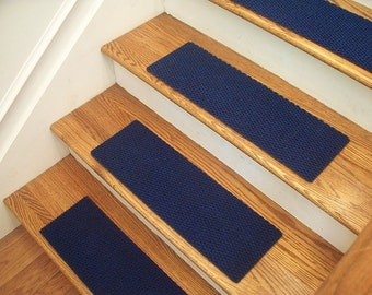 """Essential Carpet Stair Treads - Style Berber - Color Blue - Size 24"""" x 8"""" - Sets of 4, 7, 13, or 15"""