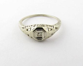 Vintage 14K White Gold Filagree Diamond Ring Size 6 #984