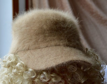 Super Fuzzy Soft 80% Angora Rabbit fur Baseball Cap/Hat, Tan/Light Brown!