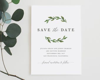 Printable Save The Date | Greenery, Watercolor, Green Leaves, Garden Wedding, Rustic