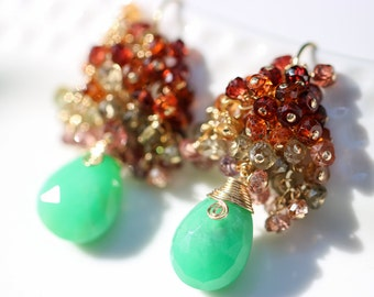 Green Chrysoprase Earring Chrysoprase Cluster Earring, Gold Green Gemstone Colorful Sapphire Earring Multi Sapphire Cluster Gemstone Earring