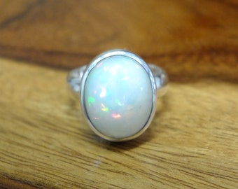 Opal silver ring ,handmade ring