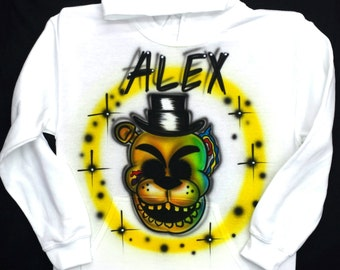Airbrushed Five Nights At Freddy's Golden Freddy FNAF Inspired T-Shirt Or Hoody Sweatshirt