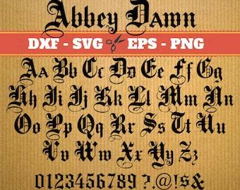 Abbey Dawn SVG FONT BUNDLE ; Svg, Dxf, Eps, Png; Gothic letters, Alphabet letters, Calligraphy printables,  Svg Font, font svg, Cricut