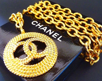 CHANEL  Necklace, Large CC Logo Pendant, Rope Design, Gold Tone, Chic High Fashion, Original Box, CHANEL Jewelry, Gift Idea, Free Shipping