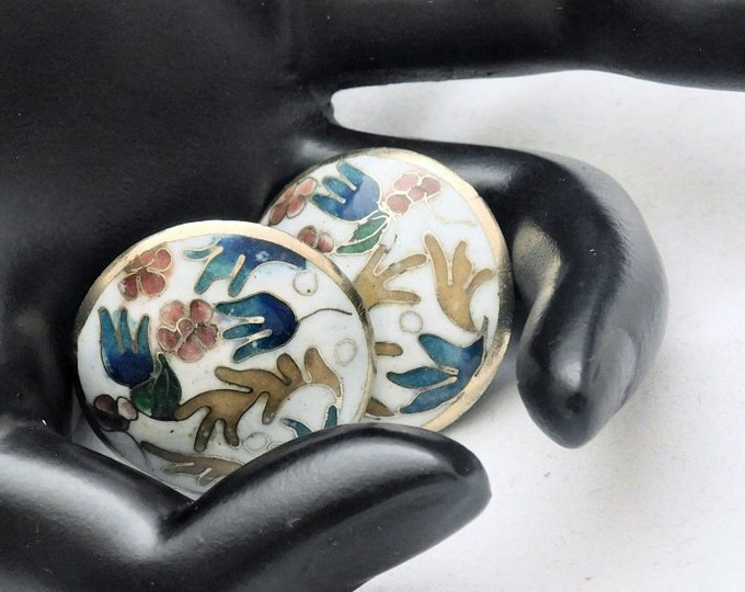 WHITE CLOISONNE NEW Vintage Gold Tone Beautiful Abstract Floral Vine Enamel Christmas Gift for Her, Stocking Stuffer Clip Earrings! 904