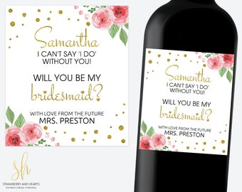 Will You Be My Bridesmaid Wine Label, Gift For Bridesmaid, Pink Roses, Gold Confetti, Rose Wine Label, Floral Label, Printable File, SH17