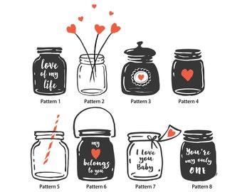 Set of 30 Personalized Return Address Labels Mason Jar Heart wish jar