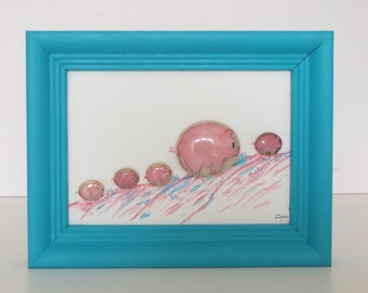 Gift for everyone, birthday gift, mother's day gift, 3D-stone painted with oil paint: Mama pig with offspring
