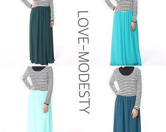 Long ,Maxi dress ,Marina ,abaya ,stripes, modest ,classical ,jersey,chiffon,hijab,love ,modesty.