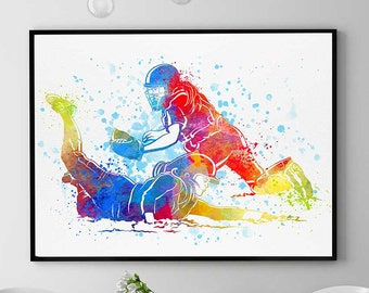Baseball Girls Print Watercolor Prints Sports Decor Softball Wall Art Christmas Anniversary Gift Baseball Girl Valentine Gift Wall (N056)