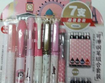Crazy Sale :  7 Fountain Pen  plus 8 replacement Ink Catridge - Paris Theme