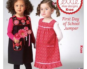 Sewing Pattern for Toddler Girls' Jumper Dress, Kwik Sew Pattern 0120, Ellie Mae Design Childs Dress or Jumper with Trim or Appliques