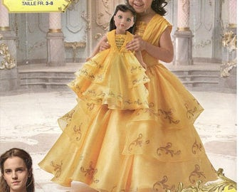 Sewing Pattern Child & 18 Inch Doll Disney Live Action Belle Costume, Simplicity 8405, Halloween, Dress-up, Cosplay, Beauty and the Beast