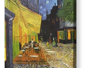 """Vincent Van Gogh """"Cafe Terrace at Night"""" Canvas Box Art A4, A3, A2, A1 ++"""