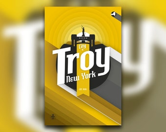 City of Troy, NY Print - Upstate New York Poster - Rensselaer - Hudson River Valley - Capital District - Wall Art Graphic Design