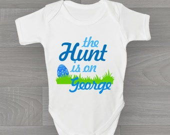 Personalised The Hunt Is On! Boys Easter Baby Grow, Bodysuit Baby Onesie Vest New Arrival Gift.