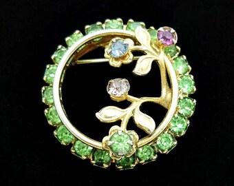 Vintage Green Floral Rhinestone Brooch, Vintage Brooch, Antique Brooch, Costume Jewelry, Rhinestone Pins, Green Brooch, Floral Brooch, 1940s