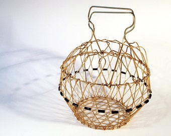 French fruit basket made of wire, folding much purpose basket, from the Fifthies
