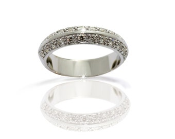 Anniversary/ Memory ring Wedding band with high quality 0.41ct diamonds 750 kt White gold