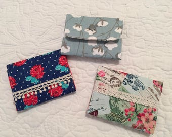Shabby Chic Wallet, Business Card Holder, Credit Card Holder