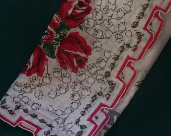 Large Crenellated Edge, Printed Cotton Vintage Handkerchief 1950s