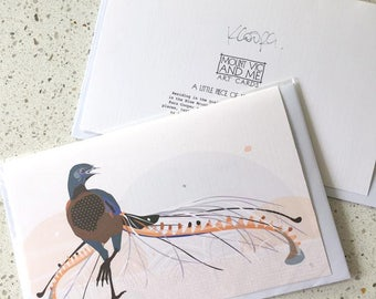 Lyrebird greeting card / bird Australia native stationery Australian pastel cream blue spots polkadots pretty gift greetings