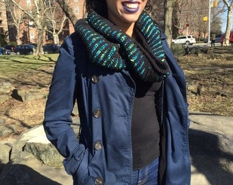 Striped Down Knitted Cowl